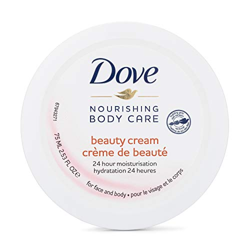 Dove Nourishing Body Care Beauty Cream with 24 Hour Moisturization, 2.53 FL OZ (Pack of 4)