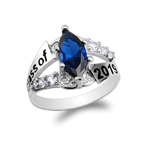 Sterling Silver Class Ring - 925 Sterling Silver Graduation Class of 2019 School Ring with 1.25ct Dark Blue Marquise CZ Size 7
