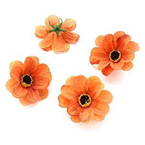 Fake flower heads in bulk wholesale for Crafts Silk Sunflower Daisy Peony Handmake Artificial Flower Heads Wedding Gifts Decoration DIY Wreath Gift Scrapbooking Craft Flower 50pcs 6cm (Orange) 45