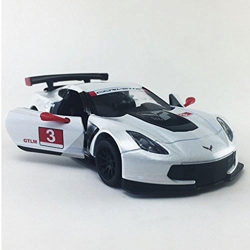 Chevy Corvette C7 Race Car #3, White w/ Decals Kinsmart 1:36 DieCast Model,Toy,Car,Collectible,Collection Corvette Race Car