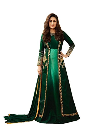 New Indian/Pakistani Designer Georgette Party Wear Anarkali Suit Maisa (Green, LARGE-42) (Green Georgette Suit)