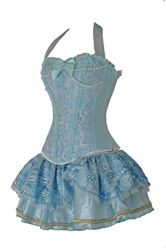 SZIVYSHI Sexy OverBust Lace up Back Corset Bustier Top (L, Blue Corset with Blue Skirt) (Corset Blue Bustier Lingerie Sexy)