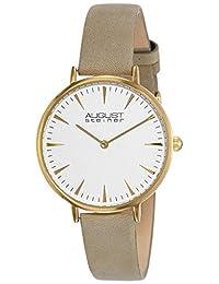 August Steiner Women's AS8187 Round White Dial Two Hand Quartz Gold Tone Strap Watch