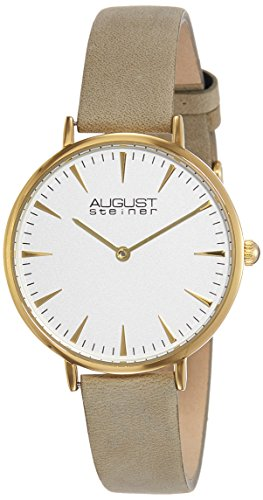 August Steiner Women's AS8187WTG Yellow Gold Quartz Watch with White Dial and Beige Nubuck Leather Bracelet