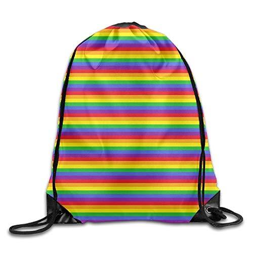 Beatybag 3D Print Drawstring Bags Bulk, Rainbow Stripes Abstract Wave Halloween Unisex Gym Drawstring Shoulder Bag Backpack String Bags -