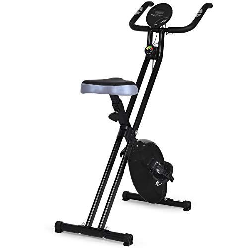 GOPLUS Magnetic Resistance Upright Bike Flywheel Bike Bicycle Cardio Fitness Equipment W/Phone Holder (Black) (Best Budget Stationary Bike)
