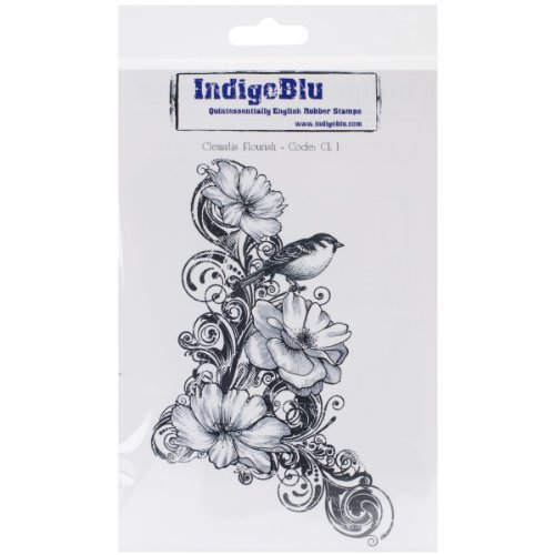 IndigoBlu Cling Mounted Stamp, 7 by 4.75-Inch, Clematis Flourish by IndigoBlu