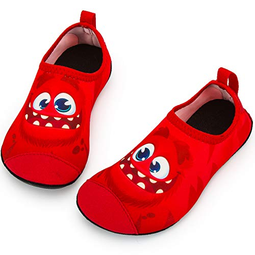 (Crova Kids Water Shoes Quick Dry Aqua Socks Non-Slip Barefoot Sports Shoes for Boys Girls, Red Face, 7.5-8 Toddler)
