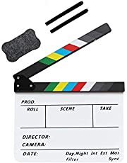 Coolbuy112 Movie Directors Clapboard, Photography Studio Video TV Acrylic Clapper Board Dry Erase Film Slate Cut Action Scene Clapper with a Magnetic Blackboard Eraser and Two Custom Pens