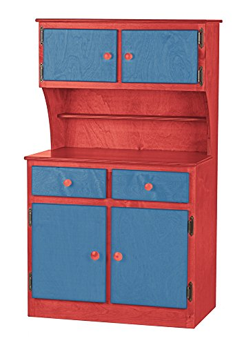 Children's Kitchen Play Hutch -Candy Shop Collection -Red and Blue Color Amish Bedroom Hutch