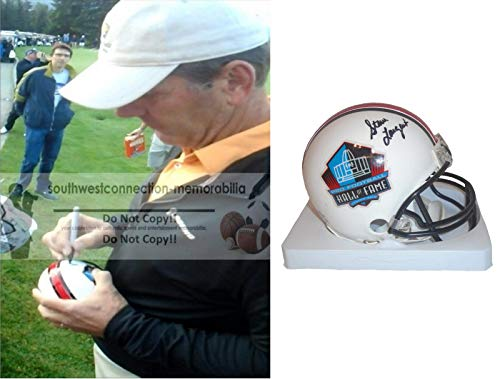 Seattle Seahawks Steve Largent Signed Hand Autographed Pro Football Hall of Fame HOF Riddell Mini Football Helmet with Exact Proof Photo of Signing and COA- University of Tulsa
