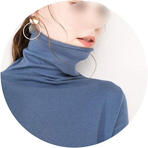 The small cat Soft Cashmere Crimping Turtleneck Sweaters and Pullovers for Women Warm Fluffy Autumn Winter Jumper,Blue,XXXL