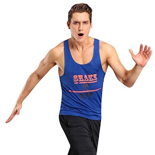 (YKARITIANNA Men Fitness Muscle Print Sleeveless Bodybuilding Tight-Drying Vest)