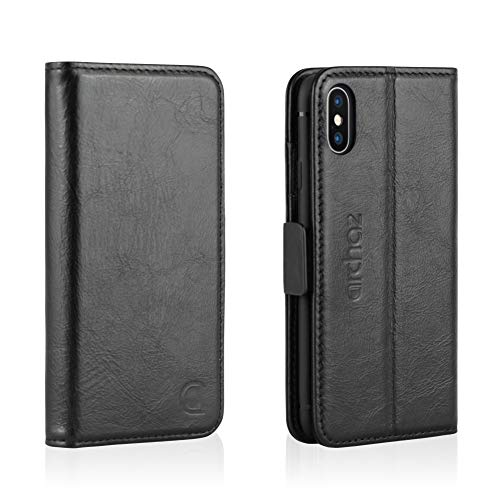 archaz iPhone X/iPhone Xs Leather Wallet Case - iPhone X/XS Wallet Case with Magnetic Latch Closure - Adjustable Viewing Stand - 3 Card Slots - Compatible with Wireless Charger (Black)