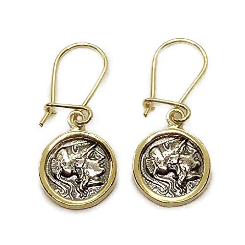 - Two Tone 18K Gold Plated Sterling Silver Athena Coin Hoop Earrings 12mm