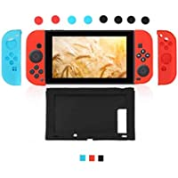 1 in 1 Silicone Case Cover For Nintend Switch Console & Joy-Con Protective Skin Cover Case & 8Pcs Thumb Stick Joystick Caps