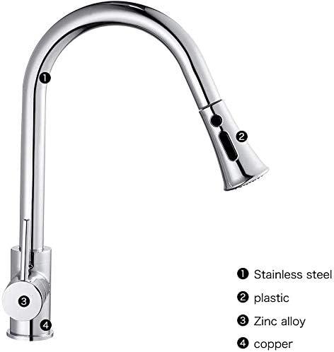 Dmqpp Kitchen Sink-Mischer-Hahn mit Pull Out Spray Einhebel 360 Grad;Schwenkertülle gebürstetem Stahl-Becken Küchenarmatur Wasserfall Einteilige Taps Stufenmischer