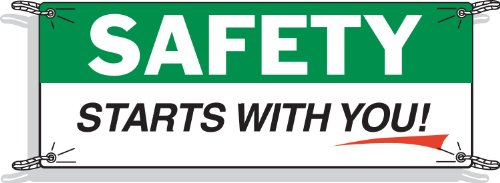 Brady 50907 3-1/2' Height, 10' Width, Vinyl, Black, Green And Red On White Color Safety Banner, Legend
