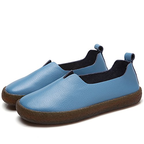 Cooga Womens Classic Leather Flats Slip On Memory Foam Cushioned Casual Walking Shoes Blue MwqP1