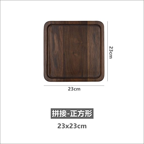 Japanese Wooden Tray North American Black Walnut Tea Tray Rectangular Plate Snack Tray Tea Tray Solid Wood Tray Stitching - Square 23X23Cm