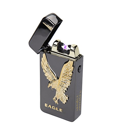 USB Rechargeable Flameless Electronic Dual Pulse Arc Cigarette Lighter Belief-Windproof Arc Lighter Cross(Black Eagle) ()