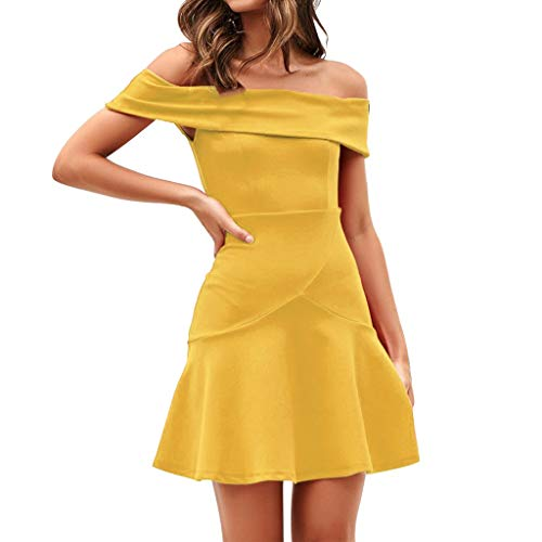 (Auimank Sexy Womens Off Shoulder Ruched Zipper Bodycon Club Solid Party Mini Dress(Yellow,Medium) )