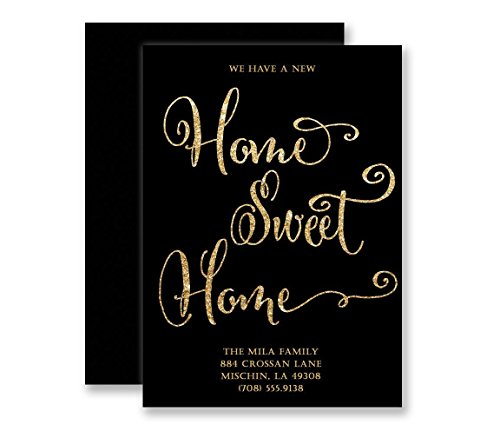 Announcements Housewarming Invitations - New Home Announcement Cards Home Sweet Home Housewarming Invitations Black & Gold Glitter Look Modern Elegant Customized Moving Invites - Mila style