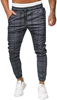 Casual Mens Long Sport Pants Slim Fit Plaid Trousers Running Joggers Sweatpants