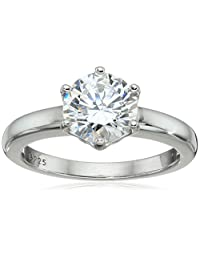 Platinum-Plated Sterling Silver Round-Cut Swarovski Zirconia Solitaire Engagement Ring (2 cttw)