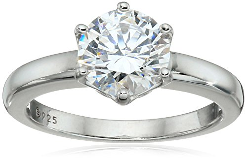 Platinum-Plated Sterling Silver Solitaire Ring set with Round Swarovski Zirconia (2 cttw), Size 7
