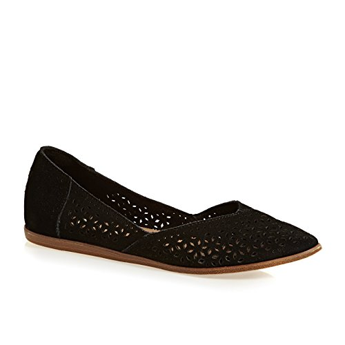 TOMS Women's Diamond Jutti Pointed Toe Flat (6 B(M) US, Black Suede/Mosaic Tile)