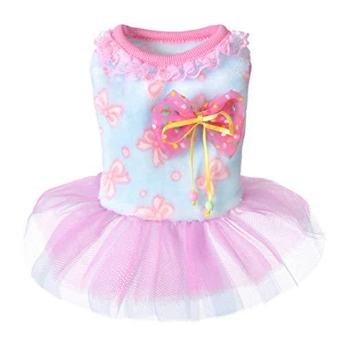 YOTATO Sweet Spring Bowknot Dog Dress Pet Puppy Clothes Wedding Clothes Skirt -