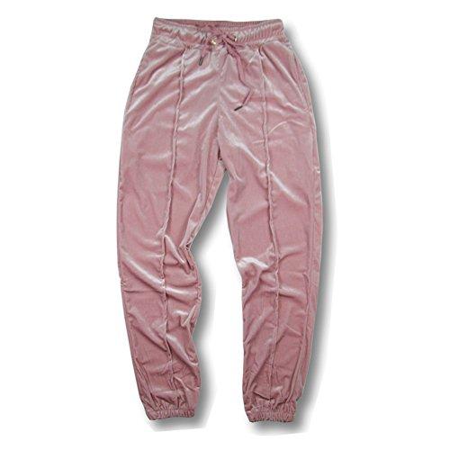 VFIVE UNFOUR Unisex Velvet Velour Running Gym Jogging Pants Pink XL