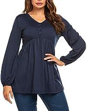 Parabler Damen Langarmshirt V-Ausschnitt Oberteile mit Knopf Blusen Tops Langarm T-Shirt Tunika Casual Knopfleiste Einfarbig