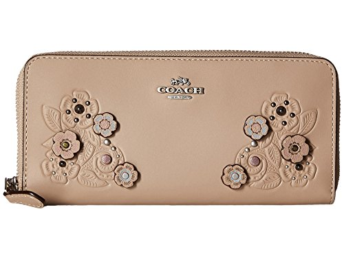 COACH Women's Tea Rose Tooling with Applique Slim Accordion Zip Wallet Lh/Stone Wallets by Coach