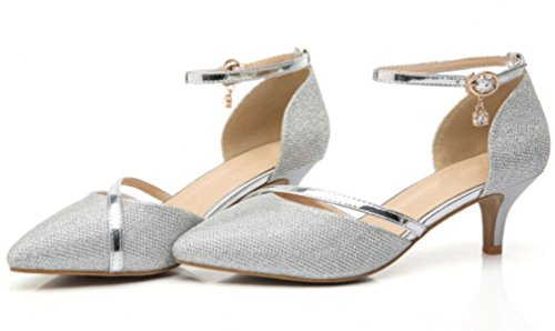 DADAWEN Women's Closed Toe Court Shoes Ankle Strap Kitten Heel Wedding Dress Pumps Silver FgYKA7E