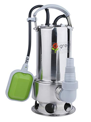 Green Expert 203626 3/4HP Submersible Stainless Steel Sump Pump Side Discharge 3700GPH for Flood Water Draining Pond Water Transfer with Automatic Tethered Float Switch for Both Clean&Dirty water (Pump Steel Sump Stainless)