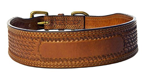 Tasmans Tasman's Stamped Bridle Tanned Bison Leather Tapered Dog Collar (1 1/4