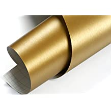 Peel & Stick Brushed Metal Contact Paper with Air release Gold : 1.64 Feet X 9.84 Feet