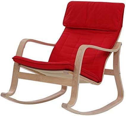 LIXIONG ロッキングチェア屋内 ラウンジチェア アームチェア あり/取り外し可能 クッション付き サンラウンジャー 布張り パッド入りシート にとって パティオ 裏庭、6スタイル (Color : Red, Size : A)