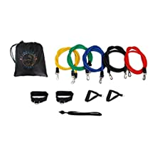 Bespolitan Set of 5 Resistance Bands for ABS Yoga P90X Fitness Exercise Workout (11-Piece)