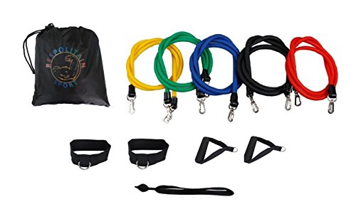 Bespolitan New Set of 5 Resistance Bands for ABS Yoga P90X Fitness Exercise Workout (11-Piece)
