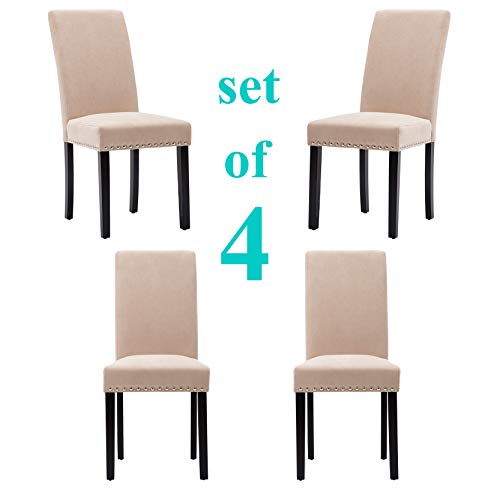Upholstered Dining Chairs Padded Parson Chair with Silver Nails and Solid Wood Legs Set of 4 (Beige) (Parsons Nailhead Chair)