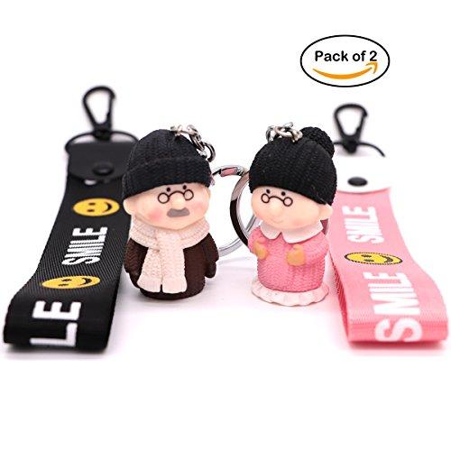 AVEC JOIE Women Keychain Couple Keyring with Grandma and Grandpa Figure Cute Creative Keychain Bag Charm (Cute Couple Accessories)