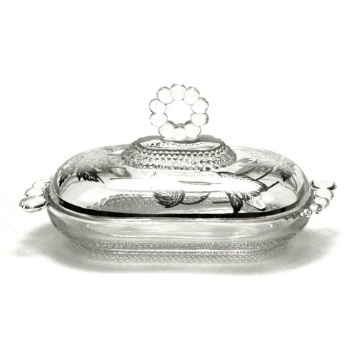 Butter Dish by Duncan & Miller, Sterling/Glass Tear Drop/Silver Overlay