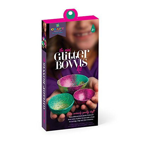 Ann Williams Group Craft-tastic Mini Glitter Bowl Kit - Craft Kit Makes 3 Decorative Bowls Made of Glitter and Glue - Note Holders Craft Kit