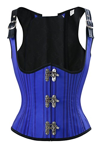 Charmian Women's Steampunk Gothic Victorian Striped Tank Vest Underbust Corset with Adjustable Straps Blue (Exquisite Fit Lace Up Corset)