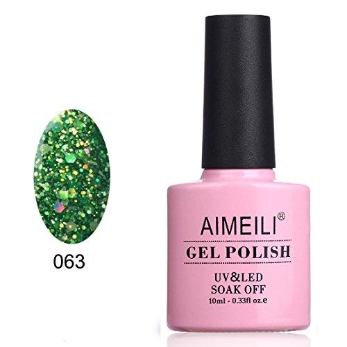 AIMEILI Soak Off UV LED Gel Nail Polish - Diamond Glitter Fire Green (063) 10ml