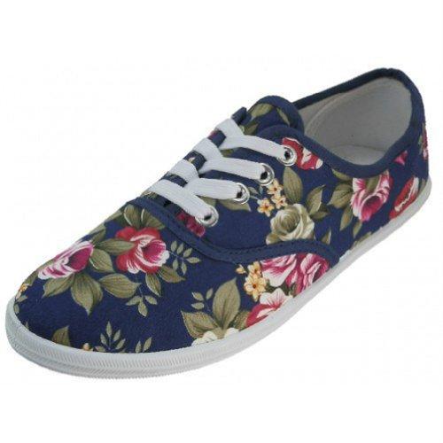 Shoes8teen Schuhe 18 Damen Canvas Schuhe Schnürschuhe Sneakers 18 Farben erhältlich Marine Blumen 324