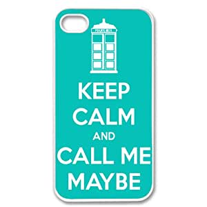 Apple iPhone 4 4G 4S COOL KEEP CALM AND CALL ME MAYBE TARDIS DESIGN WHITE Sides Slim HARD Case Skin Cover Protector Accessory Vintage Retro Unique AT&T Sprint Verizon Virgin Mobile